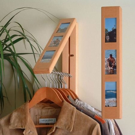 Closet hanger with photo frames