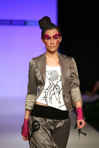 Runway model wearing t-shirt