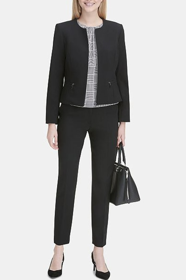 Black pantsuit by Calvin Klein