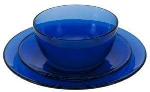 An 18-piece presence cobalt dinnerware set, which  sells for $29.99, reduced  from $78, at anchorhocking.oneida.com/