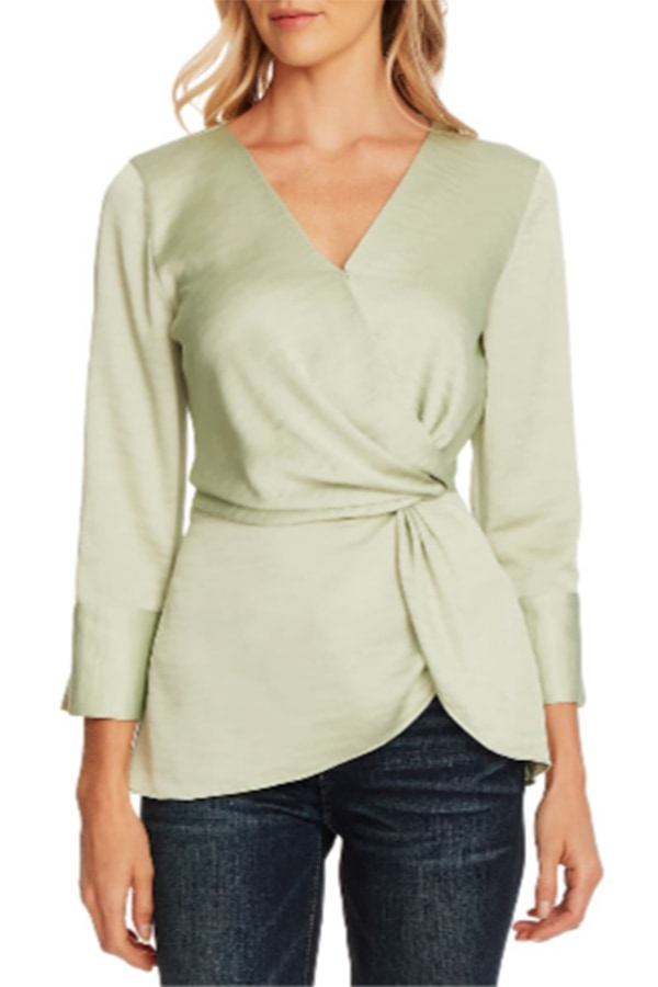Green silky wrap blouse