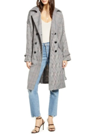 Silver belted trenchcoat