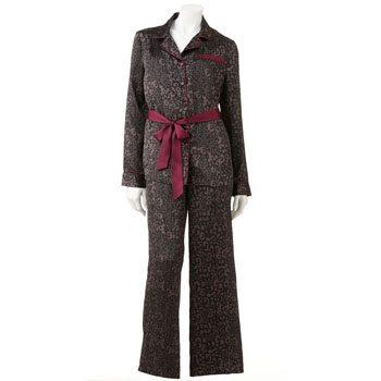 Jennifer Lopez Satin Notch Collar Pajama Set