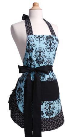 Blue and black apron