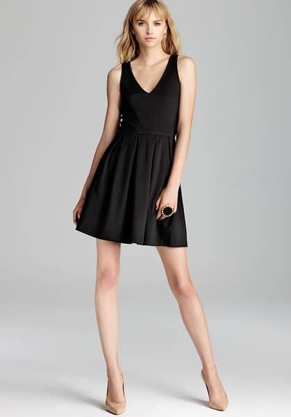 Short black v-neck dress