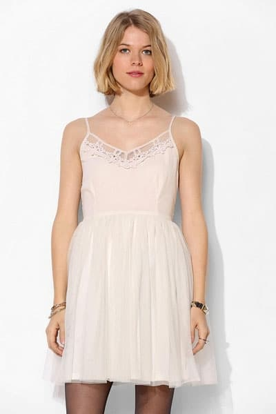Embroidered dress with tulle skirt