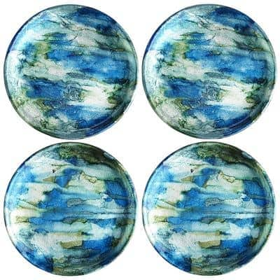 Blue and green coasters
