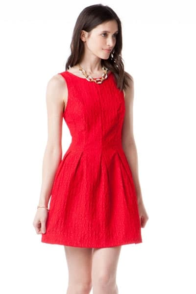 Short red, floral lace bridesmaid dress