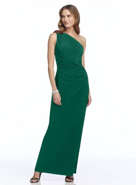 Green, one-shoulder, long bridesmaid gown