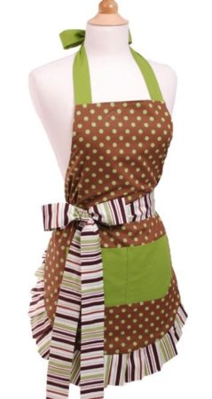 Brown and green apron