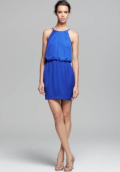 Short, blue bridesmaid dress