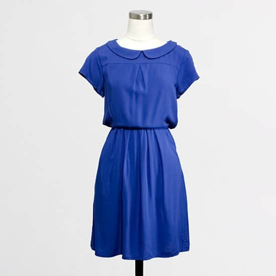Blue collared bridesmaid dress