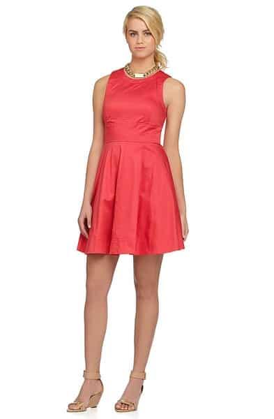 Short, coral bridesmaid dress