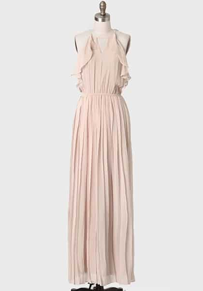 Off white bridesmaid dress with ruffles