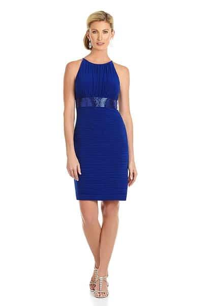 Royal blue sheath bridesmaid dress