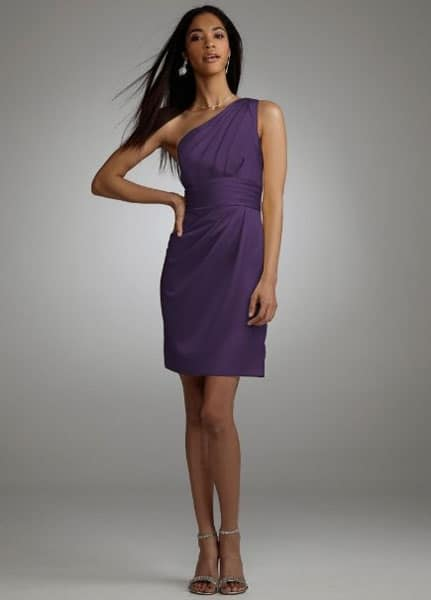 Purple one shoulder bridesmaid dress