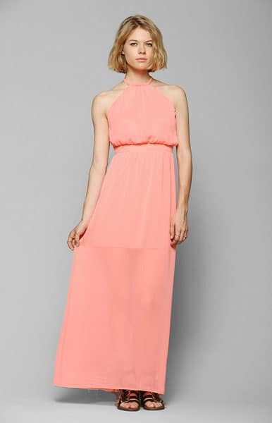 Peach colored ress with baby doll waist