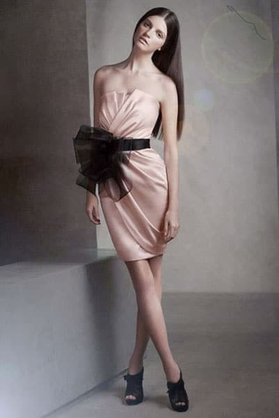 Strapless formal dress with black sash tie at waist