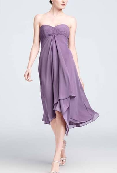 Strapless, lavender, chiffon dress