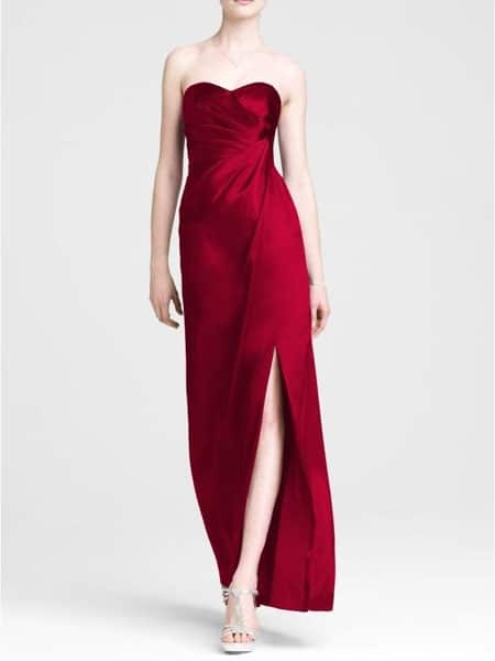 Long, red strapless gown