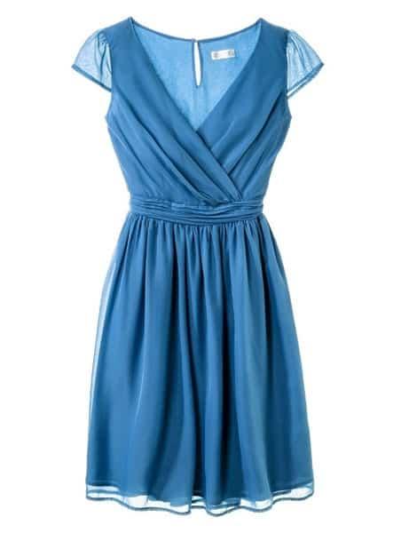 Blue chiffon bridesmaid dress