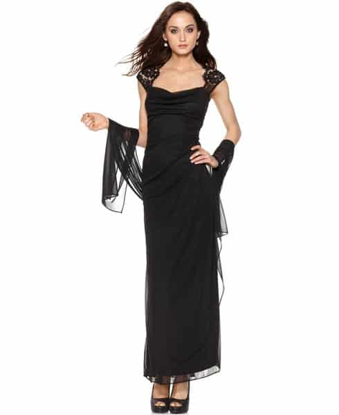 Long black formal dress with cap sleeves