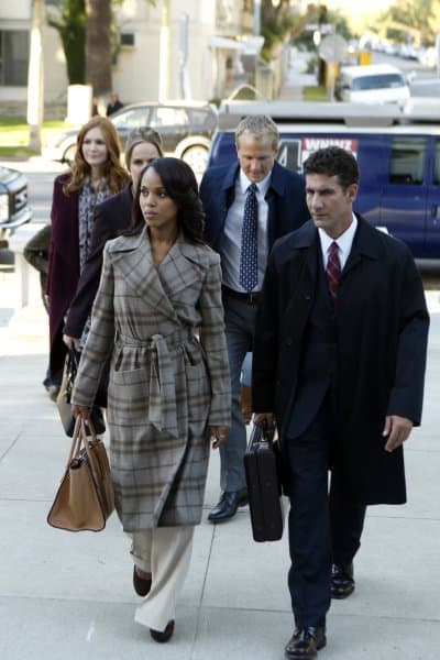 Olivia Pope wearing grey jacket