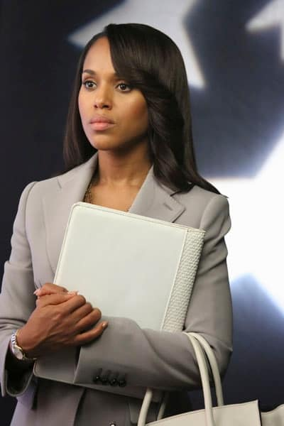 Olivia Pope wearing beige jacket