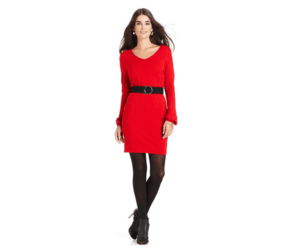 NY Collection Long-Sleeve Belted Sweater Dress