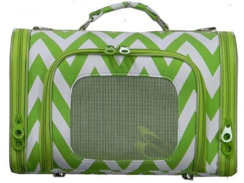 Green and white chevron pet carrier