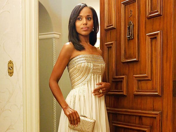 Olivia Pope wearing gold gown