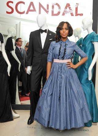 Kerry Washington wearing blue ruffle dress