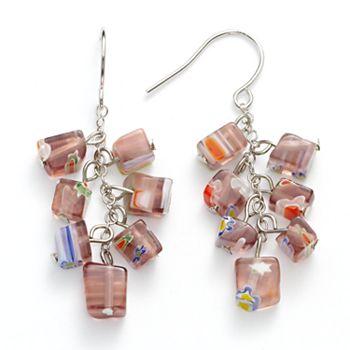 Silver beaded earrings