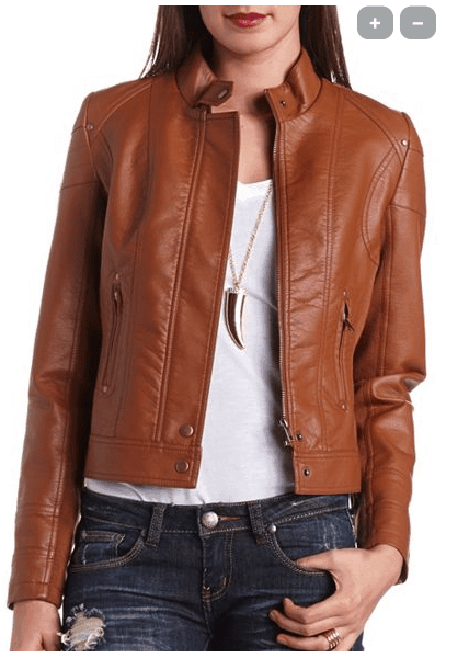 FAUX LEATHER MOTO JACKET, available at charlotterusse.com, $39.99
