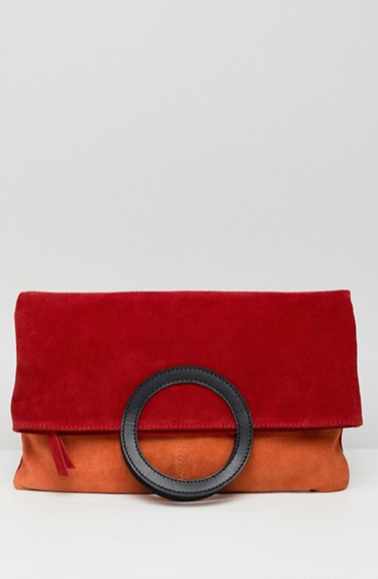 red and orange colorblock clutch