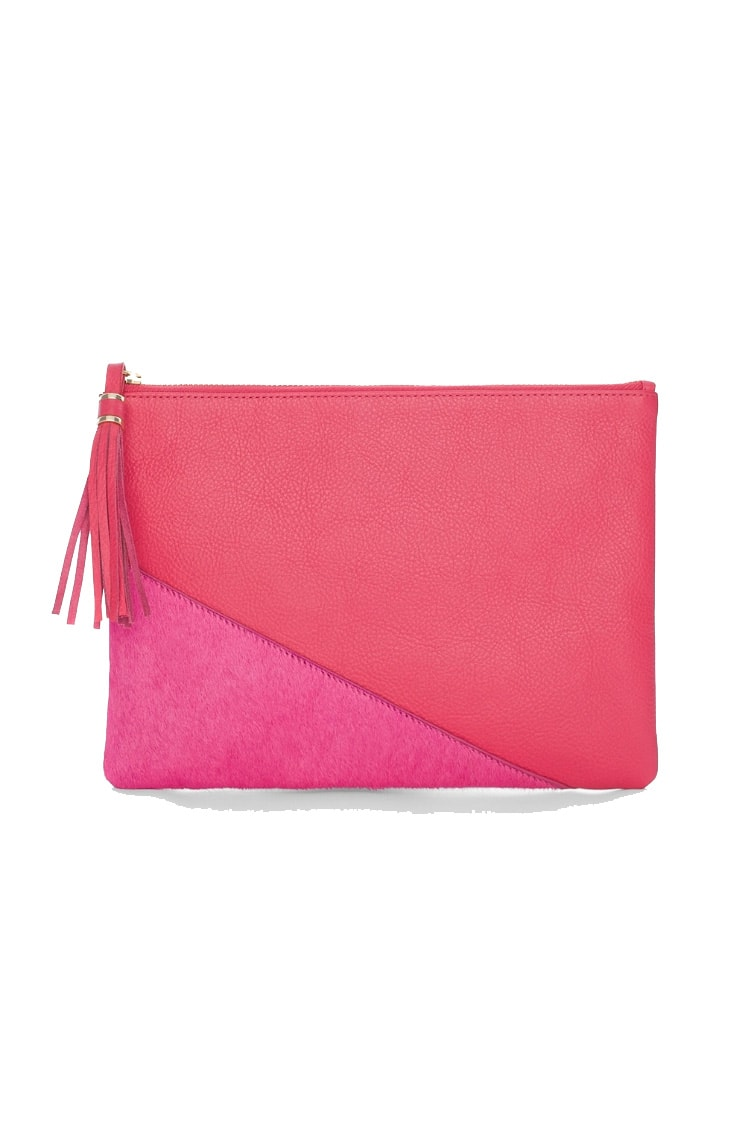Pink clutch with tassel
