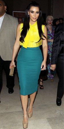 Color blocked skirt in green with yellow top