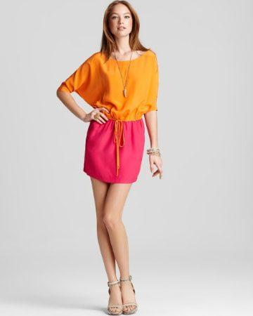 Pink skirt and orange top