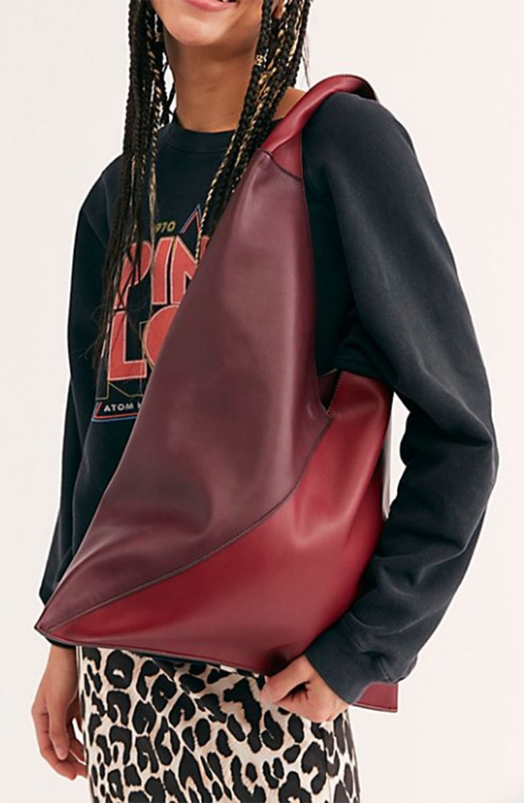 Red colorblock hobo bag