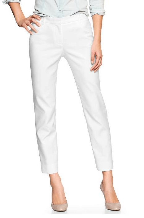 Slim cropped double-weave pants available at gap.com, $49.95