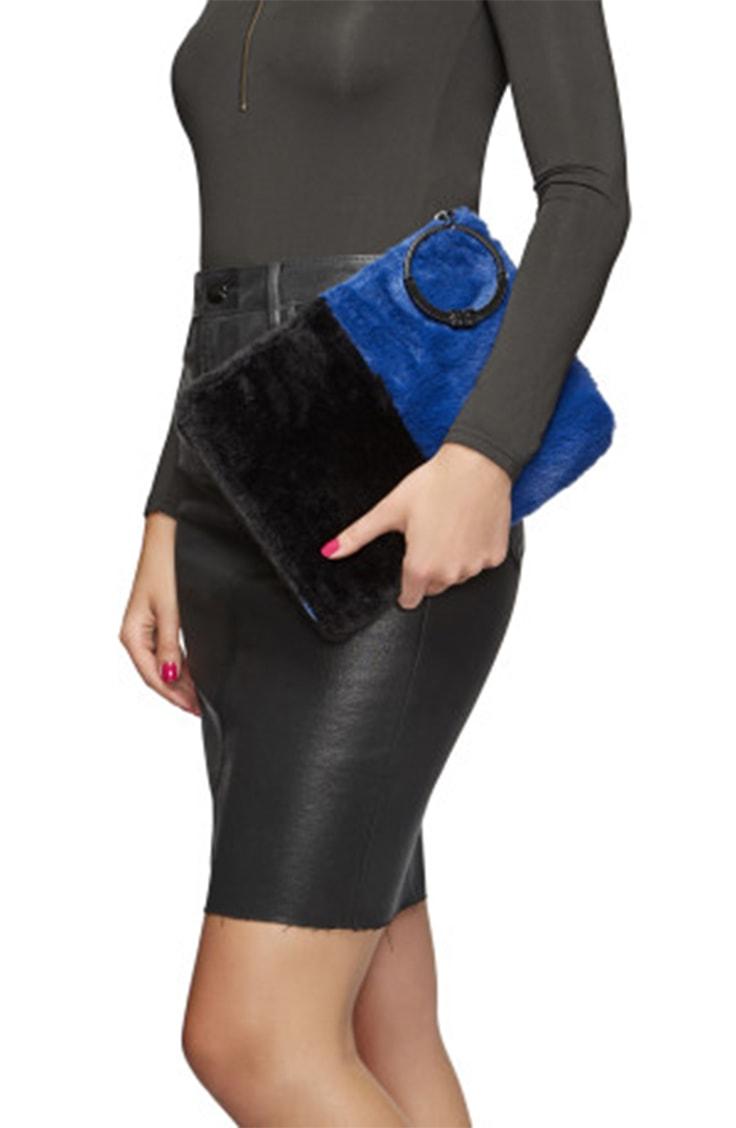 Blue and black fur clutch