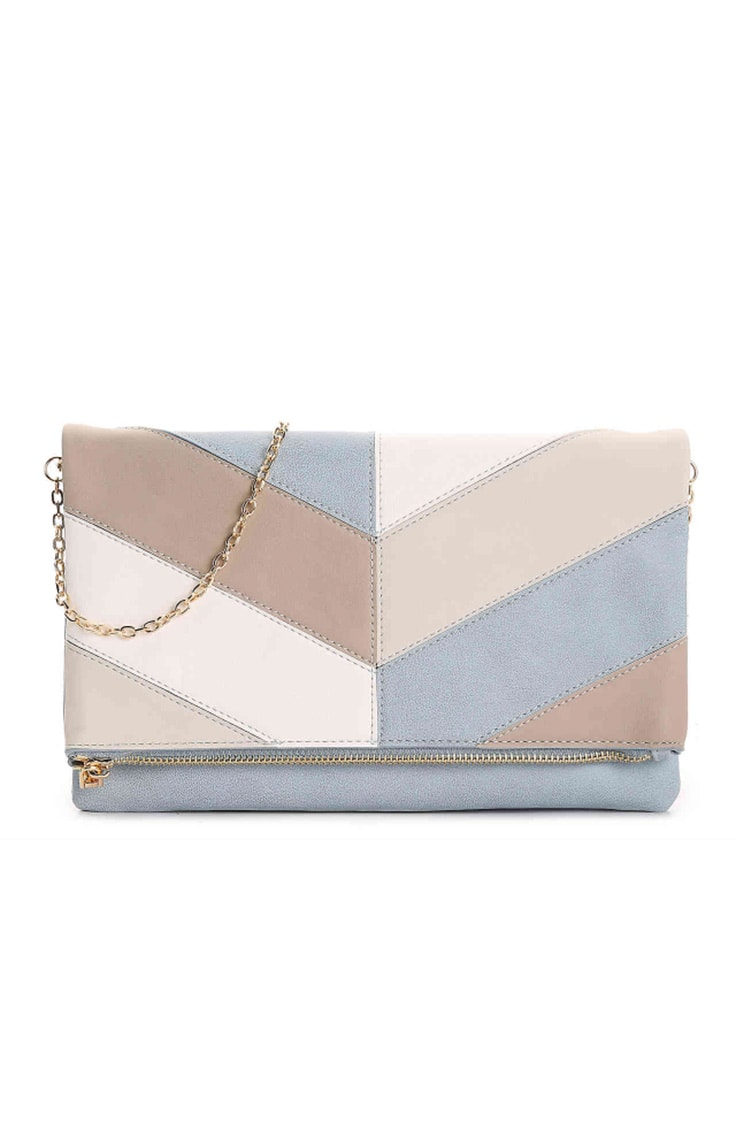 Blue and beige colorblock clutch bag