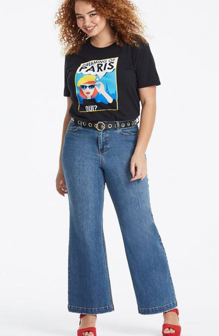 High waisted wide legged plus size jeans