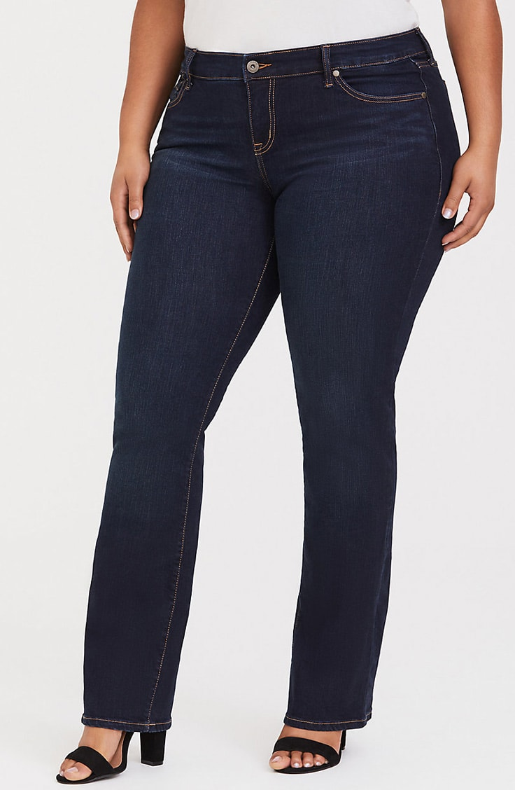 Plus size bootcut jeans in dark wash