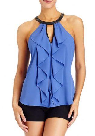 Blue ruffle halter top