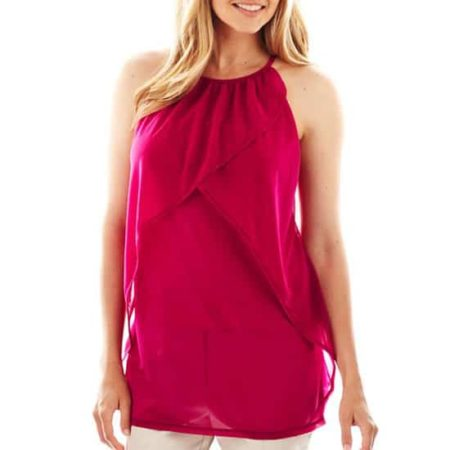 Red halter top with ruffle