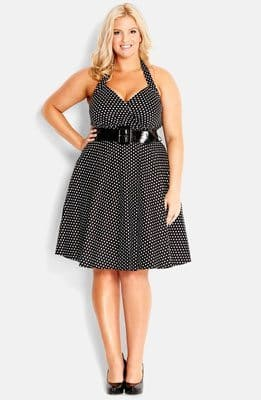 City Chic 'Spot Siren' Belted Fit & Flare Halter Dress (Plus Size)