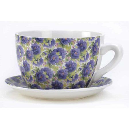 Flower pot designed like a tea cup