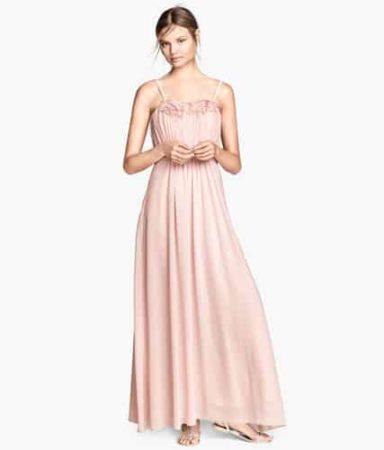 Long pink bridesmaid dress with pleats