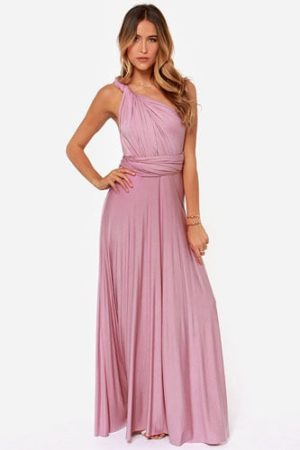 Long pink bridesmaid dress with one shoulder silhouette